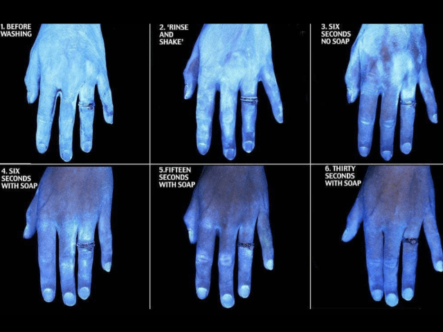 Black light of how washing your hands has on huge impact on germs