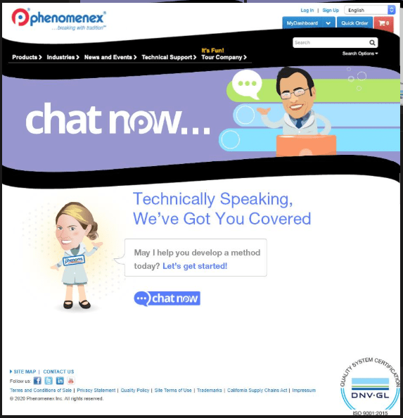 Chat Now home page for chromatography assistance