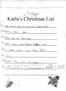 Karlas Christmas List-2012