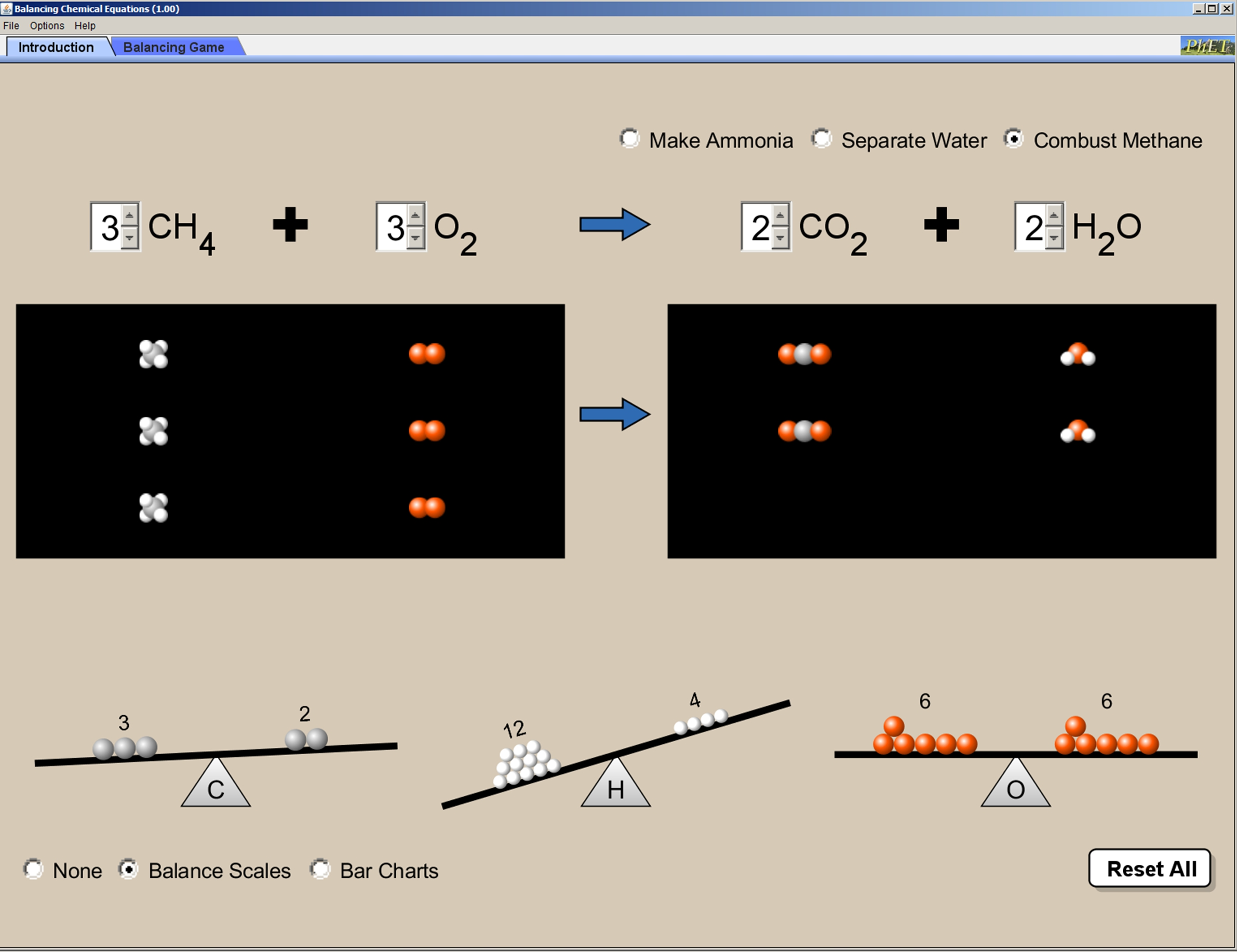 Phet Balancing Chemical Equations