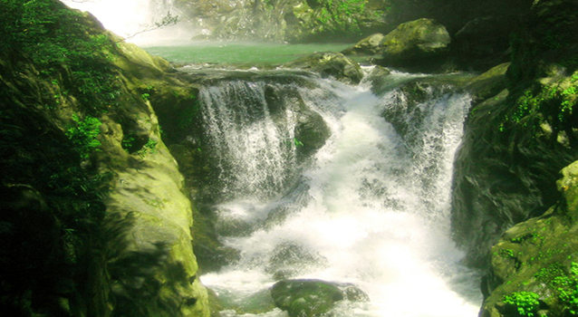 The falls that exits the lagoon of Lussok Crystal Cave in Luna, Apayao