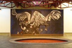 Zweikampf von Stier und Kondor als Murale