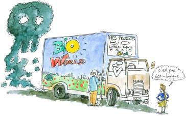 Un camion livrant des marchandises bio fume abondamment.
