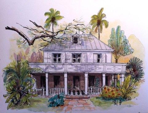 Aquarelle d'une riche case créole.
