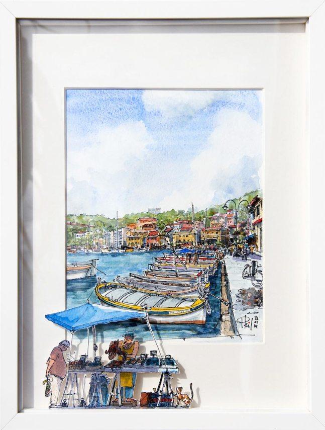 Aquarelle représentant un vendeur de poisson, sur le port de Cassis.