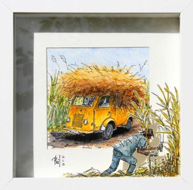 Aquarelle représentant un coupeur de cannes à sucre, devant son camion déjà chargé.