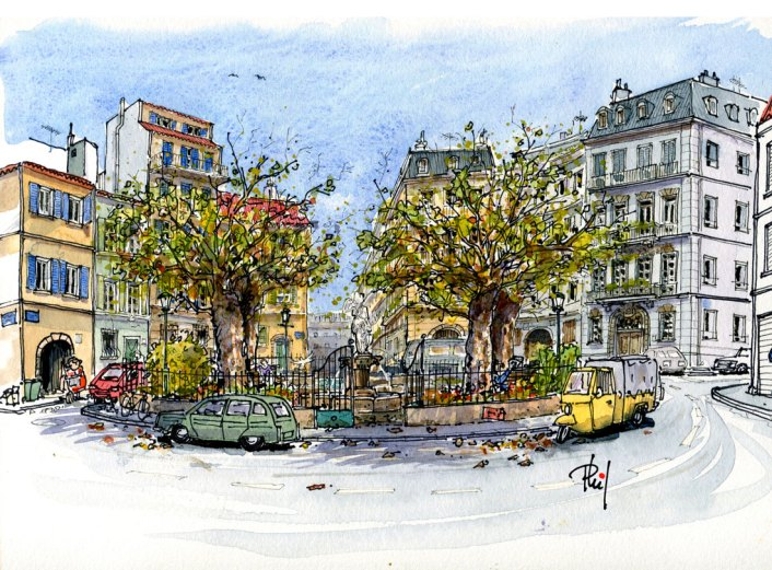 Couverture du roman de S. Noaille, représentant une place marseillaise