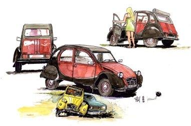 DIfférentes vues de la 2cv Citroën.