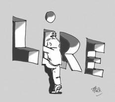 """Enfant passant par une ouverture en forme du mot """"lire"""""""