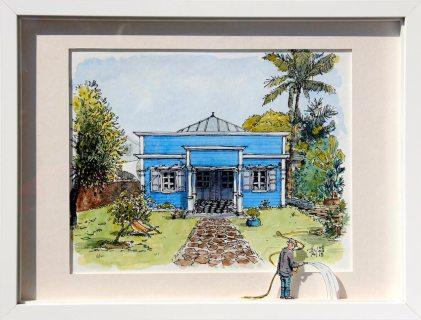 Aquarelle représentant une vieille case créole bleue.