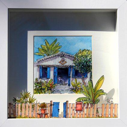 Aquarelle représentant une vieille femme assise au pas de sa petite case créole.