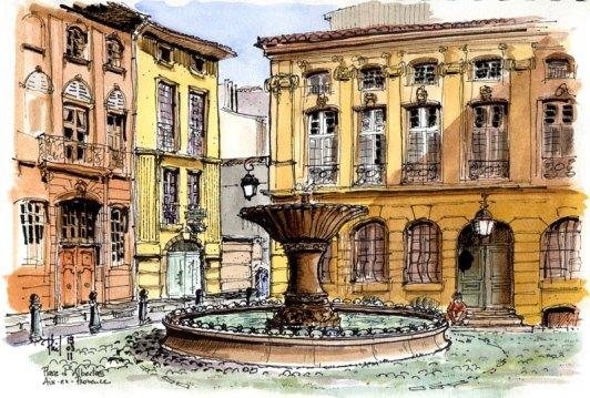 Aquarelle représentant la place d'Albertas, bordée d'hôtels particuliers, Aix-en-Provence.