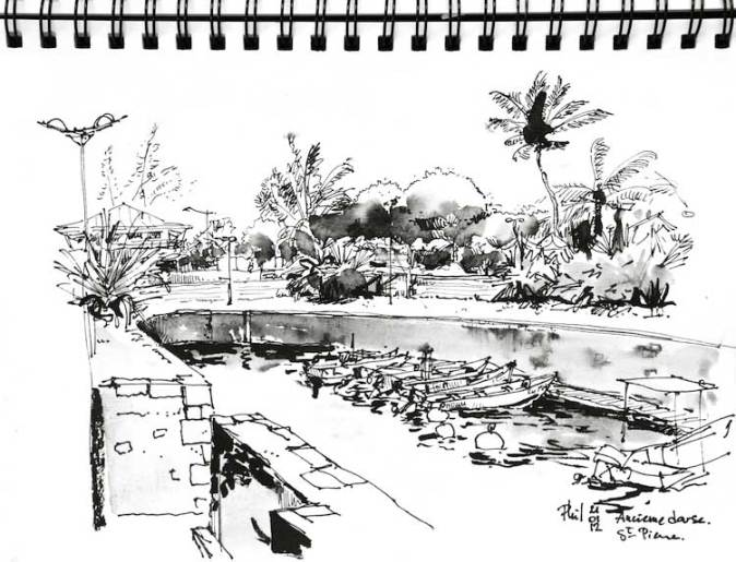 Croquis d'un bassin de radoub du port de Saint-Pierre, Ile de la Réunion.