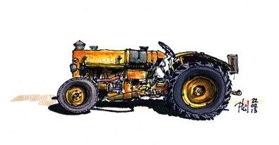 Dessin d'un vieux tracteur Vandeuvre.