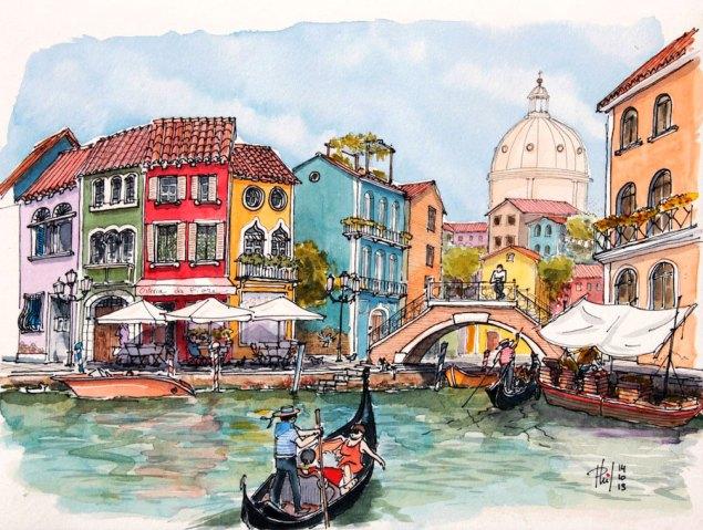 Aquarelle imaginaire représentant un canal de Venise.