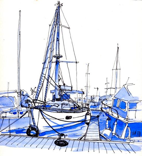 Voilier amarré, port de Saint-Pierre, Ile de la Réunion.