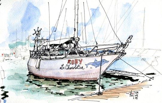 Croquis du voilier Roby, au port de Saint-Pierre, Île de la Réunion.