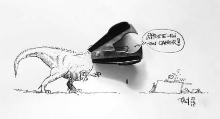 Un T-Rex dessiné dont la tête est une pince à agrafes.