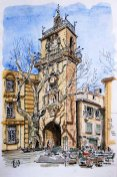 Sketch of a belfry, Aix-en-Provence, France, by Phil