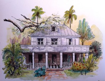 Watercolor of a creole house, Reunion Island, by Phil