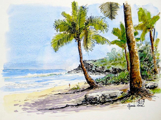 Watercolour : a beach in the south of Reunion Island.