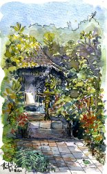 Watercolor : lodge in a tropical garden, by Phil