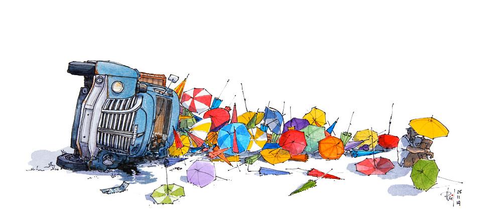 Umbrellas truck, by Phil