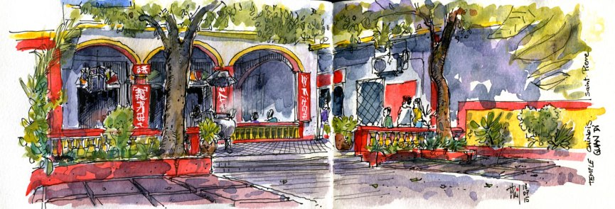 Croquis aquarellé du temple chinois Guan Di, à Saint-Pierre.