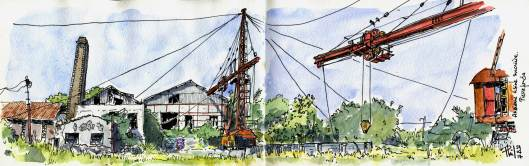 Sketch of an ancient sugar factory, Reunion Island