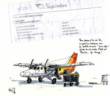 Croquis d'un twin otter d'Air Seychelles