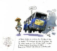 Croquis d'un bus Tata aux Seychelles