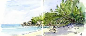 Croquis aquarelles de l'anse Georgette, au nord de Praslin, Seychelles