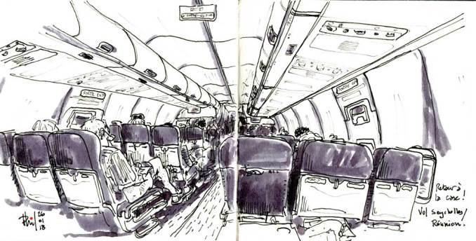 Croquis de la cabine d'un airbus