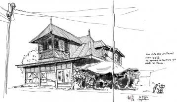 Sketch of an old creole house in la Digue, Seychelles islands