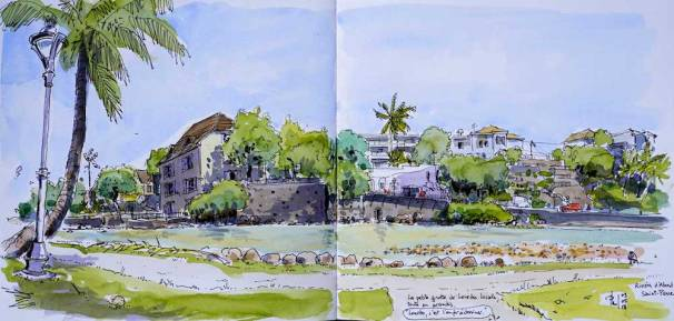 Sketch of a former harbour, Saint-Pierre, Reunion Island