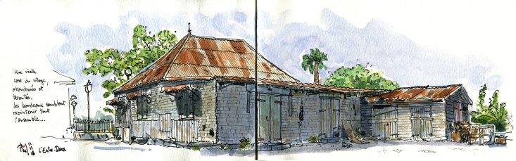 Dessin aquarellé d'une ancienne maison créole.