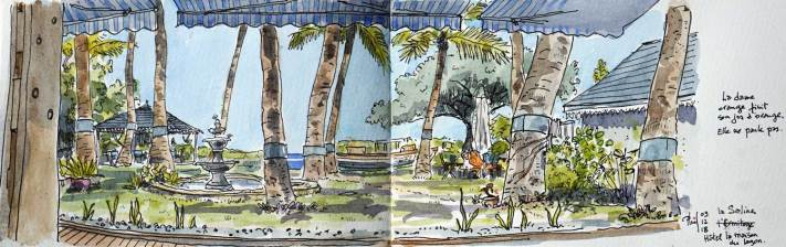 Sketch of a creole garden, near the lagoon, Reunion Island
