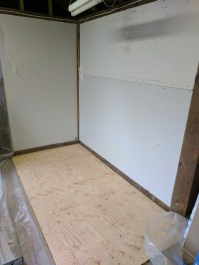 New subfloor. I plan on sealing the plywood and then pouring an expoxy resin (or similar) floor on top.