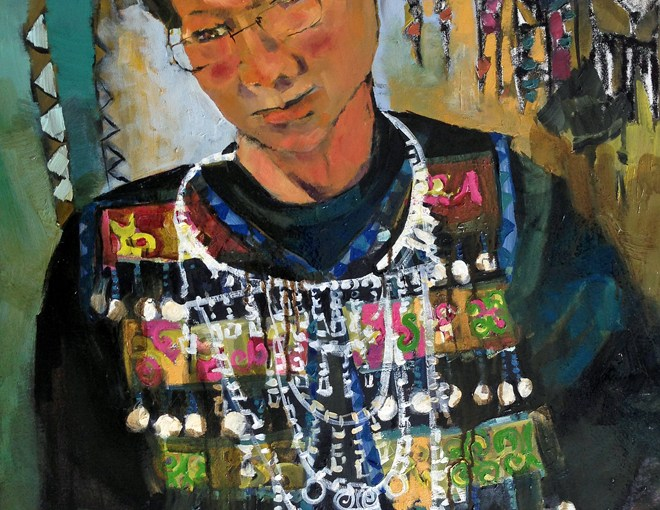 LIVE Painting Museum: Final Sitting. Hmong friend wearing traditional dress