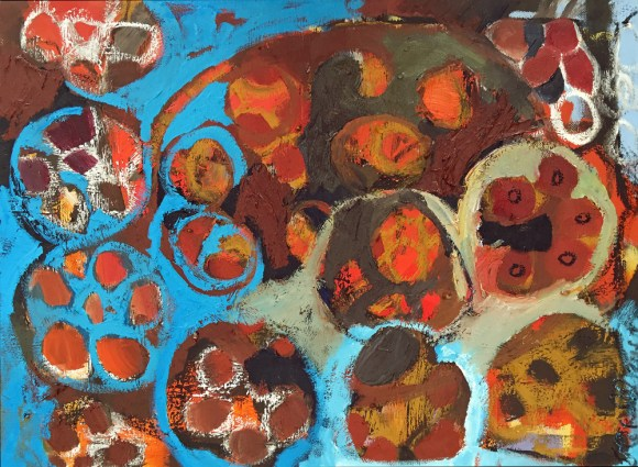 Ice Circles. Winter Abstract Oil Painting. Portland, Maine Artist
