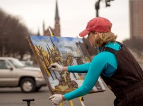 Erin McGee Ferrell. Philadelphia-Artist.com Victor Salvo Photographer. Outdoor Painting in March. Maine