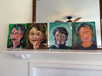 Collaborative Self-Portraits. Adult Oil Painting Lesson. Erin McGee Ferrell, American Artist. Art teacher, Falmouth Maine. www.Philadelphia-Artist.com