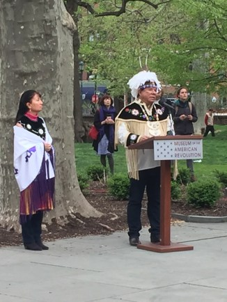 Oneida Nation Representative and Nation Enterprises CEO, Ray Halbritter, honors the Unknown Native American Ancestors in Washington Square.
