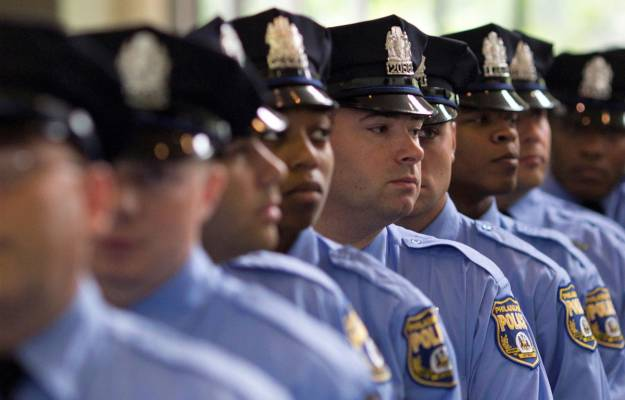 Row of Philadelphia Police Officers