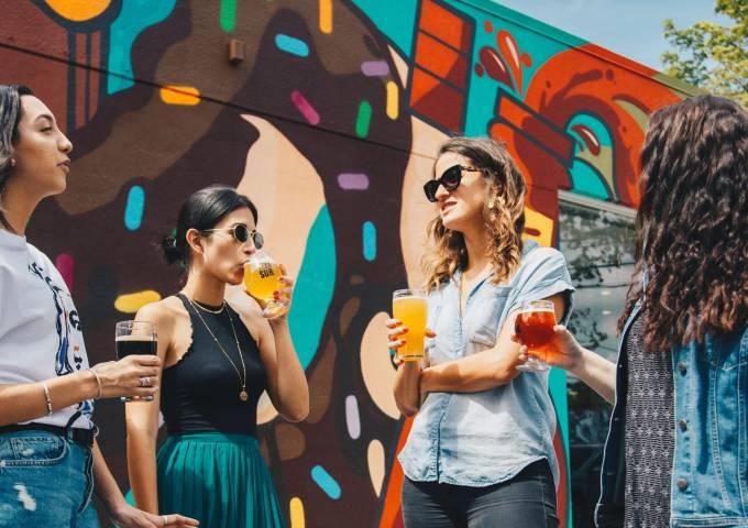 Ladies talking with drinks