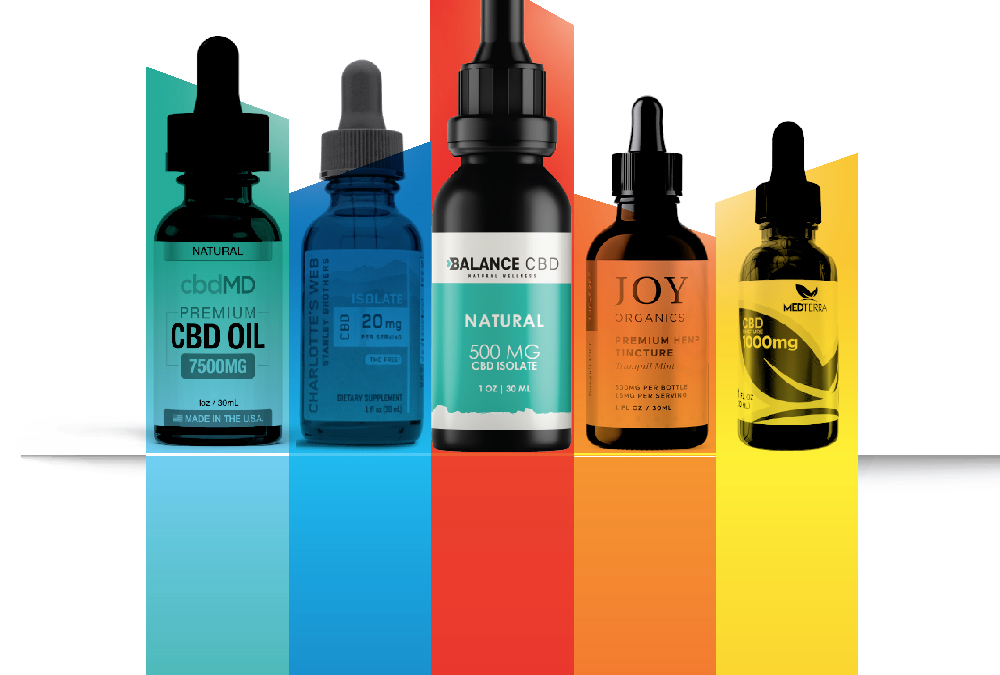 Image of CBD oil bottles