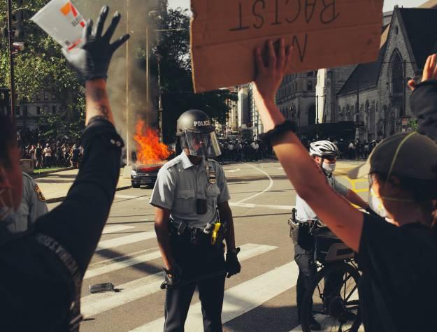 Cops protestors