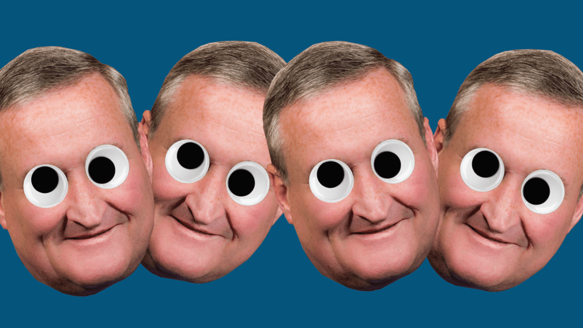 Mayor Jim Kenney with googly eyes