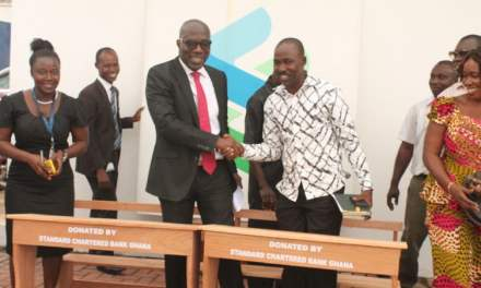 Stand Chartered donates classrom infrastructure to Schools in BA & Ashanti