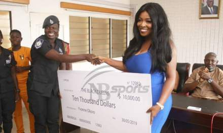 Yvonne Okoro donates cheque of $10,000 to Black Queens